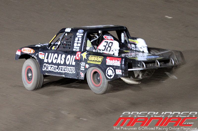 Brian Deegan in the #38 Lucas Oil/Metal Mulisha Ford wins Pro Lite Unlimited for Round 9 at Glen Helen Raceway