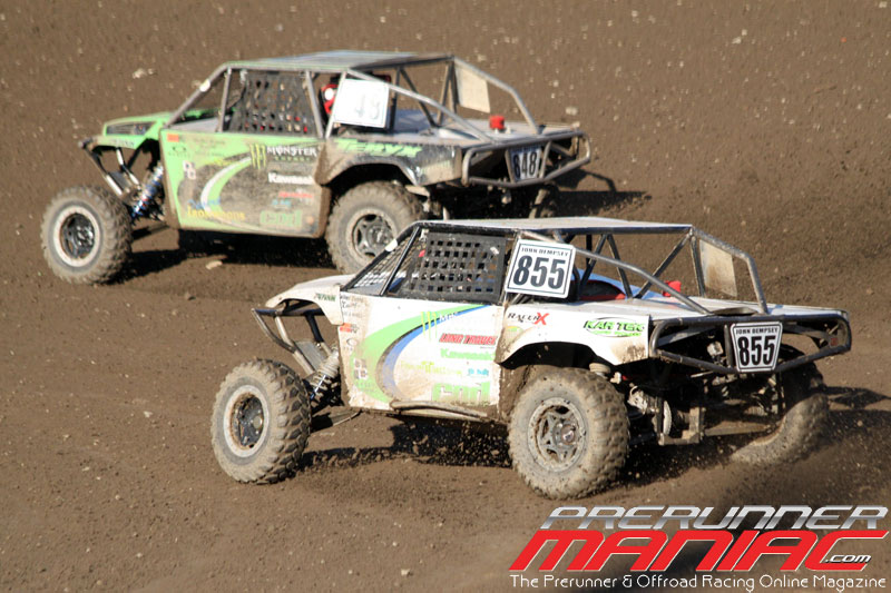 Doug Mittag and John Dempsey battle in turn 2 for Round 9 & 10 at Glen Helen Raceway