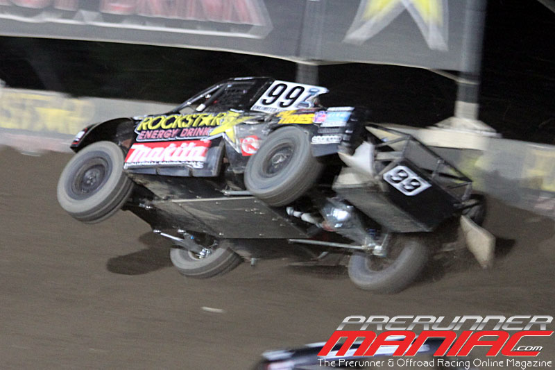 Kyle LeDuc in the #99 Rockstar/Makita Ford saves it in turn 2 during Pro Lite Unlimited for Round 9 at Glen Helen Raceway